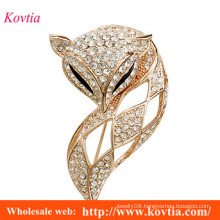 Costume jewellery brooches for women gold filled diamond fox brooch