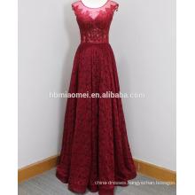 2017 new design elegant ball gown instock sleeveless beaded lace long evening dress