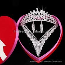 Ensembles de collier en cristal Ensemble de collier de mariage Boucles d'oreilles sexy pour fête de mariage (Collier + Boucles d'oreilles + Couronne) F3053 Collier Mariage
