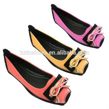 China Fabrik weichen PU Mode Ballerina Schuhe flache Frauen Schuhe