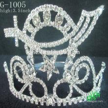 Los nuevos rhinestone de la corona de la belleza de la manera del diseño embroma los clips del pelo de la corona