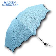 Mejor Proveedor Sun Promocional 2017 Nuevo Estilo Personalizado Imprimir Moda Barato 3 Fold Lápiz Paraguas Fábrica de Diseño en Hangzhou