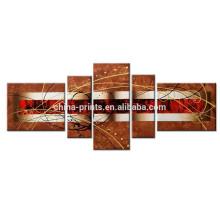 Ручная роспись 100% Ручная роспись / Абстрактная Современная ручная декоративная отделка стен / Картины маслом для домашнего пейзажа Splice 5 шт. / Комплект
