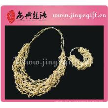 Fio chique de jóias paquistanês Crochet Gold String Necklace
