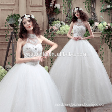 Modern Style white wedding dress sweetheart crystal ball gown long