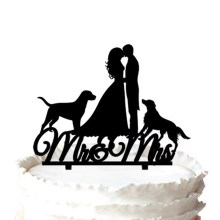 "Two Dogs with [ Mrs & Mr"" Silhouette Wedding Cake Topper."