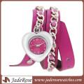 Moda feminina coração relógio de forma
