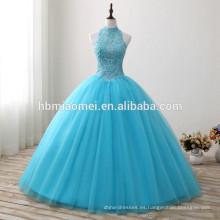 2017 nueva moda de color azul longitud del piso vestido de novia con cordones halter diseño decoración del diamante nuevo estilo de vestido de boda al por mayor
