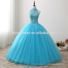 2017 nouvelle mode bleu couleur plancher longueur robe de mariée lacé licol conception diamant décoration nouveau style robe de mariée en gros