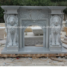 Hot Selling High Quality Marble Fireplace Carved Lions (SY-MF151)