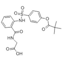 Propanoic acid,2,2-dimethyl-,4-[[[2-[[(carboxymethyl)amino]carbonyl]phenyl]amino]sulfonyl]phenyl ester  CAS 127373-66-4