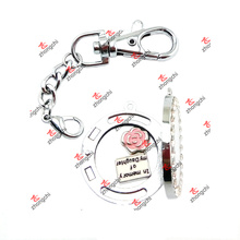 DIY Alloy Crystal Magnets Glass Two Loops Lockets Keychain (MGL60105)