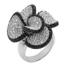 Черное и белое бриллиантовое кольцо из стерлингового серебра 925