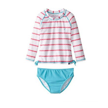 Girls′ Rope Stripe Printing Two-Piece Swim Set Girls Swimwear Manufacturer