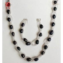 Black Freshwater Pearl Necklace Set Jewelry