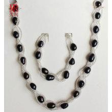 Schwarze Süßwasser Perlen Halskette Set Schmuck