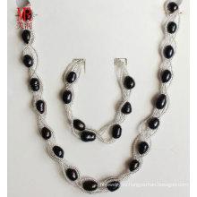 Черный пресной воды жемчужиной ожерелье набор ювелирных изделий