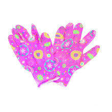13G Polyster guante de impresión floral, Nitrile CE Guante