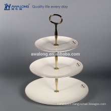 Afternoon tea time Pure White Three layers fruit cake ceramic plates