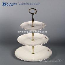 White Custom Logo Bone China Fino Cerâmica placa de três camadas