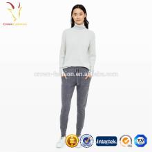Cashmere Lã Lady Calça Casual Calça com Bolsos