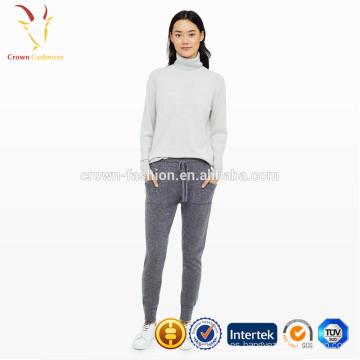 Pantalones casuales de señora de lana de cachemira con bolsillos