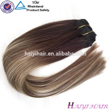 Comercio al por mayor Alibaba 2018 Nueva Balayage Color doble Drawn Clip en extensiones de cabello