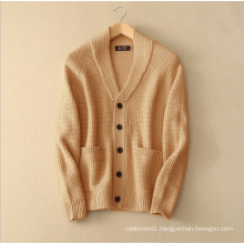 Men's thick sweater coat with vertical pocket V neck single breasted pure cashmere knitting cardigan for winter