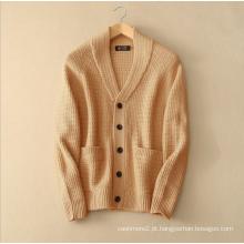 Revestimento de camurça grossa para homem com bolso vertical V pescoço casaco de tricô de cachemira puro e único breasted para inverno