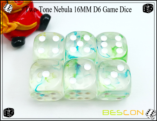 Two-Tone Nebula 16MM D6 Game Dice-14