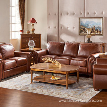 Upholstered Lounge Couch Genuine Leather Sofa