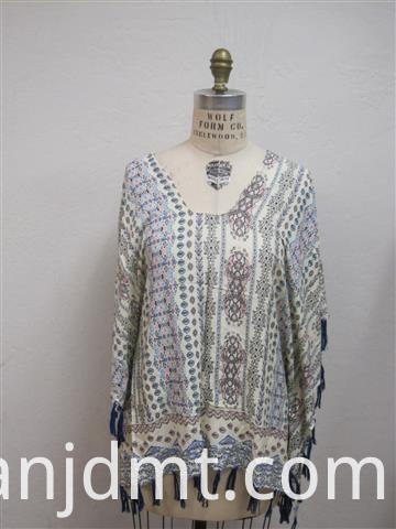 Fashion Printing Kaftan with Tassel