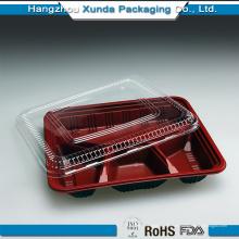Embalaje de plástico para contenedores de comida para llevar de 4 compartimentos
