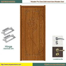 Porte en bois de porte en bois d'entrée de porte en bois intérieure