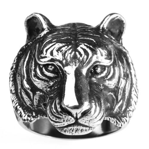 Stainless Steel Men's Tiger Head Type Animal Ring