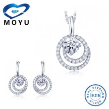 Sterling silver double circle cubic zirconia earring and pendant jewelry set