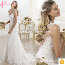 Alibaba Latest Design White Sexy Lace V Neck Illusion Back Mermaid Bride Wedding Dress 2017