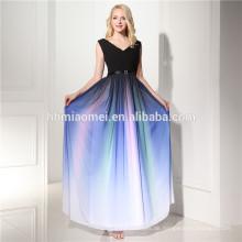 2017 lila Farbe Stock Länge aus Schulter und Spaghetti Strap lange Abendkleid mit Fabrik Preis
