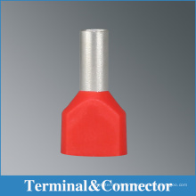 Insulated twin cord end terminal connectors ,l tubular crimping wire terminals,bootlace termianls furruel with avarious colors ,