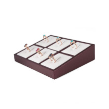 6 Inlay Tilt Jewelry Ring Display Bandeja (TY-6R-WBL)