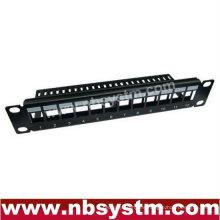 """Panel de conexiones en blanco de 12 puertos UTP con barra trasera 10 """"1U, disponible para Cat5e o Cat6 Keystone Jacks"""