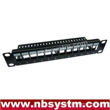 """12 port UTP Blank Patch Panel with back bar 10"""" 1U,available for Cat5e or Cat6 Keystone Jacks"""
