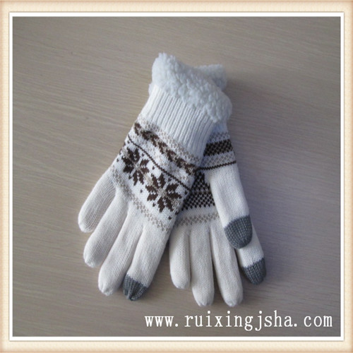 Lady Knitted jacquard touch Screen Gloves