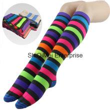 Lady meninas Custom listra Design Pantyhose longas meias
