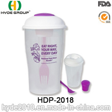Envase práctico plástico de la ensalada con la bifurcación y la venda (HDP-2018)