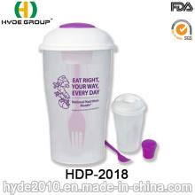 Recipiente de salada de plástico prático com garfo e copo de molho (HDP-2018)