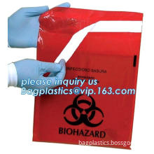plastic clinical infectious waste self sealing stick on biohazard bags, Specimen Transparent Bag