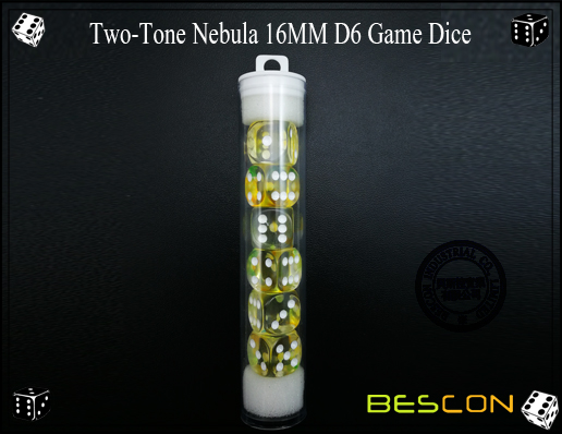 Two-Tone Nebula 16MM D6 Game Dice-4