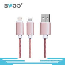 Câble Micro Lightning tressé 2 en 1 pour téléphone portable