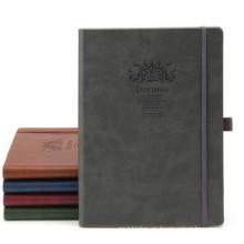 Cuero grabado en relieve de esquina ronda elástico Casebound PU Notebook
